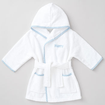 Personalised Cotton Baby Blue Robe