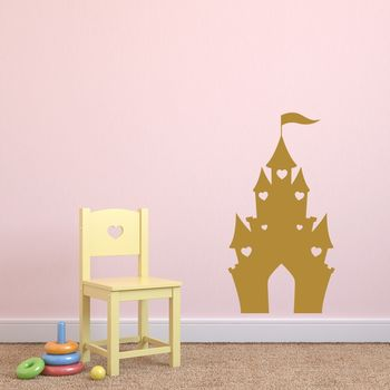 Kids Castle Vinyl Wall Sticker - Gold