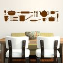 Kitchen Utensils Wall Sticker - Brown