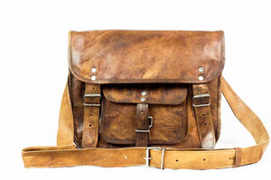 Natural Handmade Thirteen Inch Leather Satchel - bags & purses