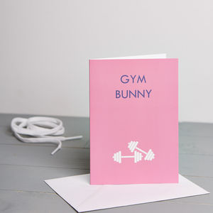 Gym Bunny Card - blank cards