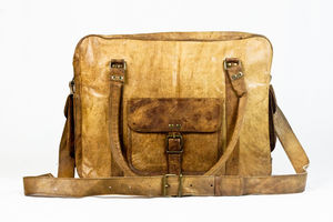 Unisex Brown Tan Leather Weekend Holdall Gym Baby Bag