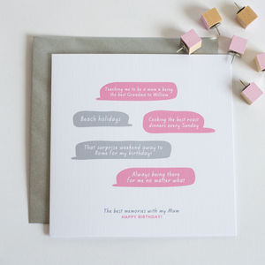 Personalised Best Memories Card - mother's day cards