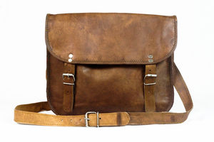 Brown Tan Leather Satchel Crossbody Messengerbag Unisex