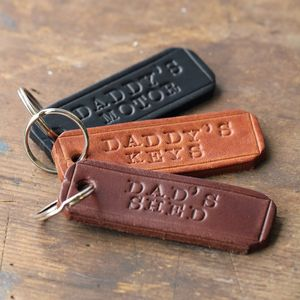 Personalised Handstamped Leather Keyring - men's accessories