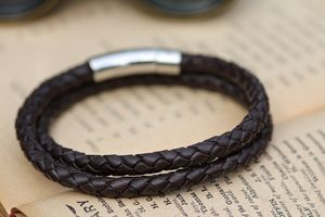 Brown Plaited Mens Wrap Bracelet - men's jewellery