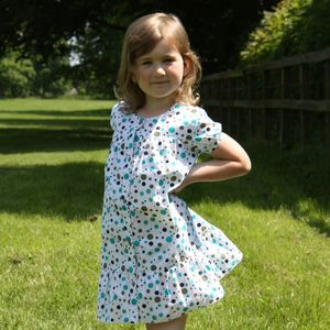 Polka Dot Puff Sleeve Dress - clothing