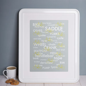 Bike Words Print - activities & sports