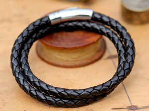 Black Plaited Mens Wrap Bracelet - men's jewellery