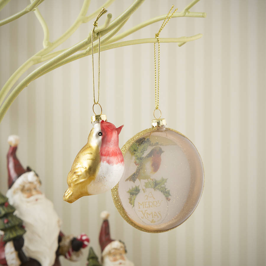 vintage robin glass christmas bauble