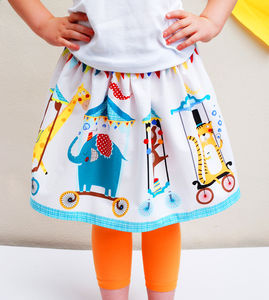 Girls Circus Print Party Skirt - clothing