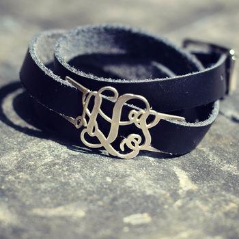 Personalised Leather Wrap Monogram Bracelet