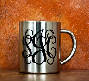 Monogram Silver Outdoor Mug - home & garden gifts