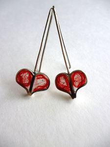 Handmade Red Wool Heart Earrings