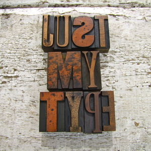 Vintage Letterpress Printers Blocks: Small - decorative letters