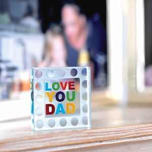 Mini 'Love You Dad' Glass Token - decorative accessories