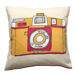 Camera Holga Cushion In Yellow