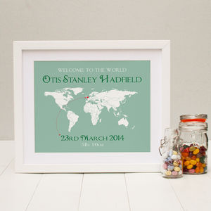Personalised 'Welcome To The World' Map Print
