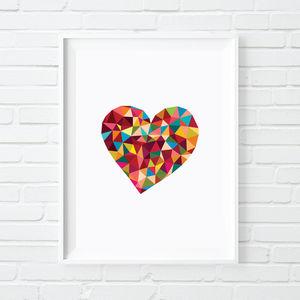 Polygon Love Heart Print