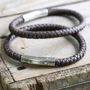 Engraved Men's Brown Leather Bracelet - 21st birthday gifts