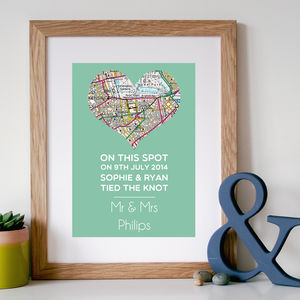 'On This Spot' Personalised Wedding Gift Map Print - posters & prints