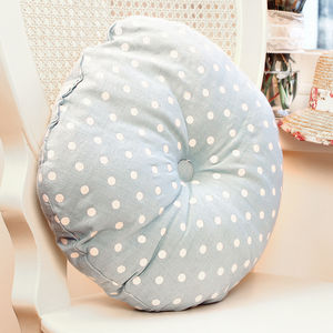 Vintage Blue Polka Dot Seat Pad - patterned cushions