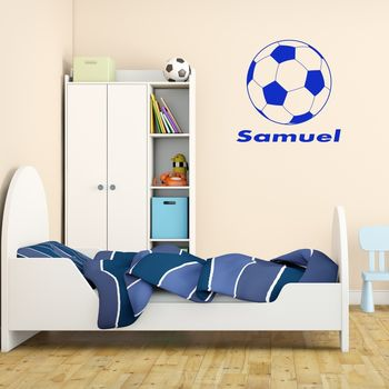 Personalised Football Wall Sticker - Brilliant Blue
