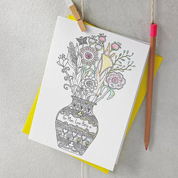 Personalised Colour In Flowers Card