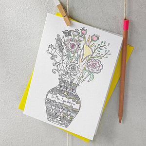 Personalised Colour In Flowers Card - sympathy & sorry cards
