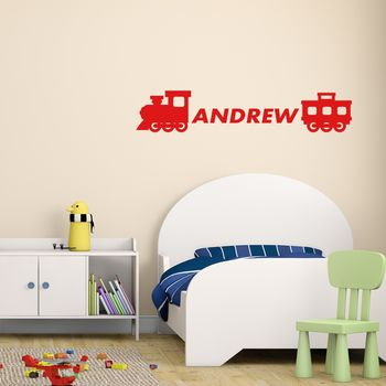 Personalised Train Wall Sticker - Red