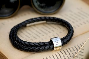 Infinity Black Wrapped Mens Leather Bracelet - men's jewellery