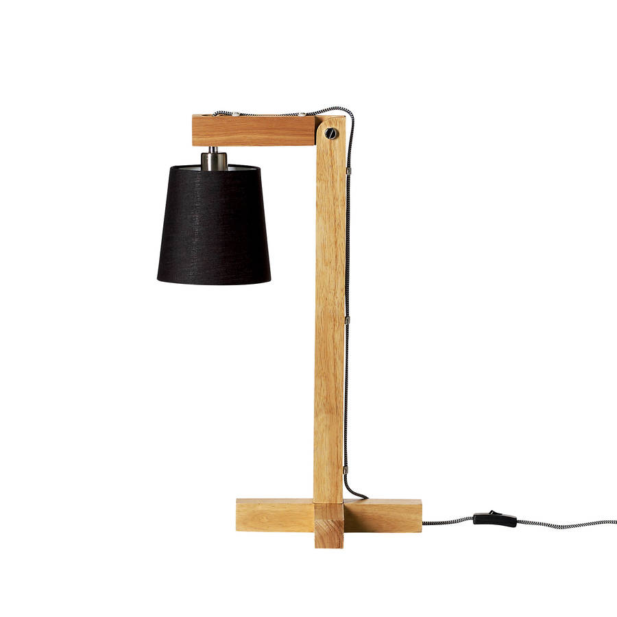 wood table lamp with black shade by out there interiors. Black Bedroom Furniture Sets. Home Design Ideas