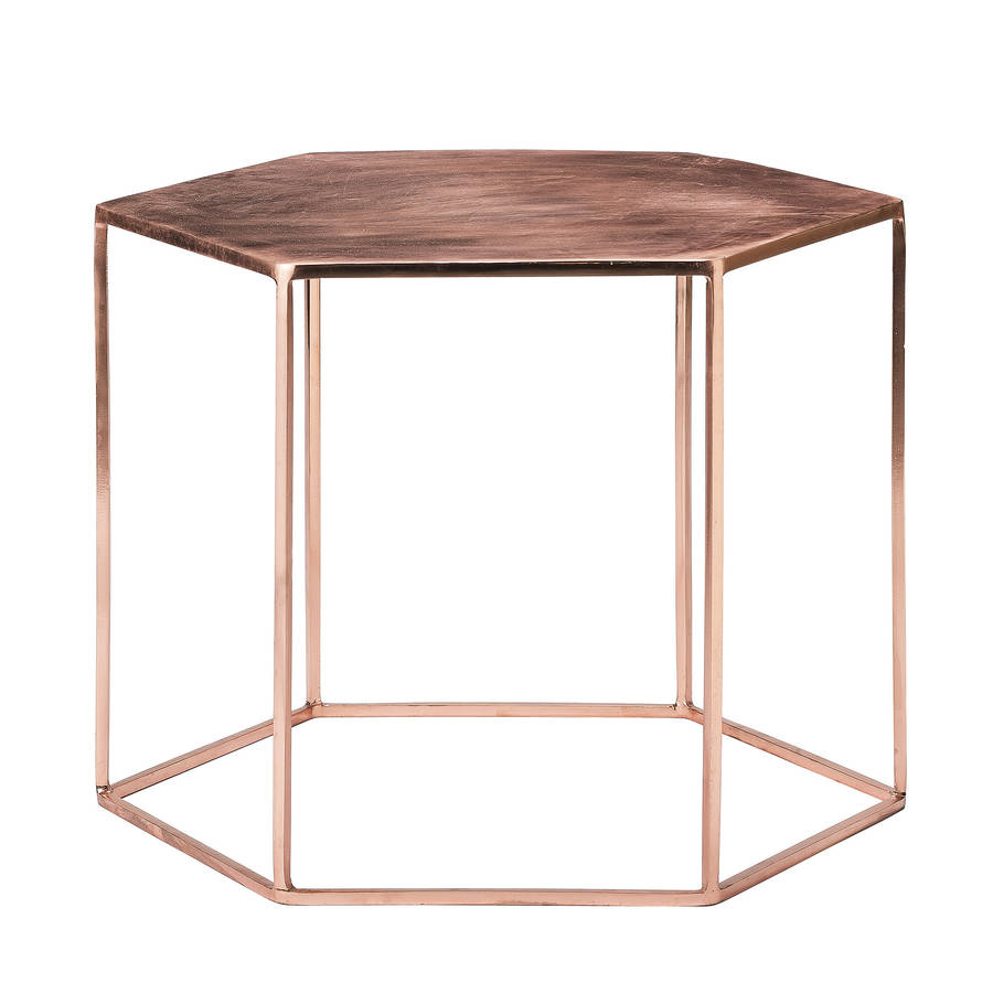 copper plated hexagonal coffee table by out there