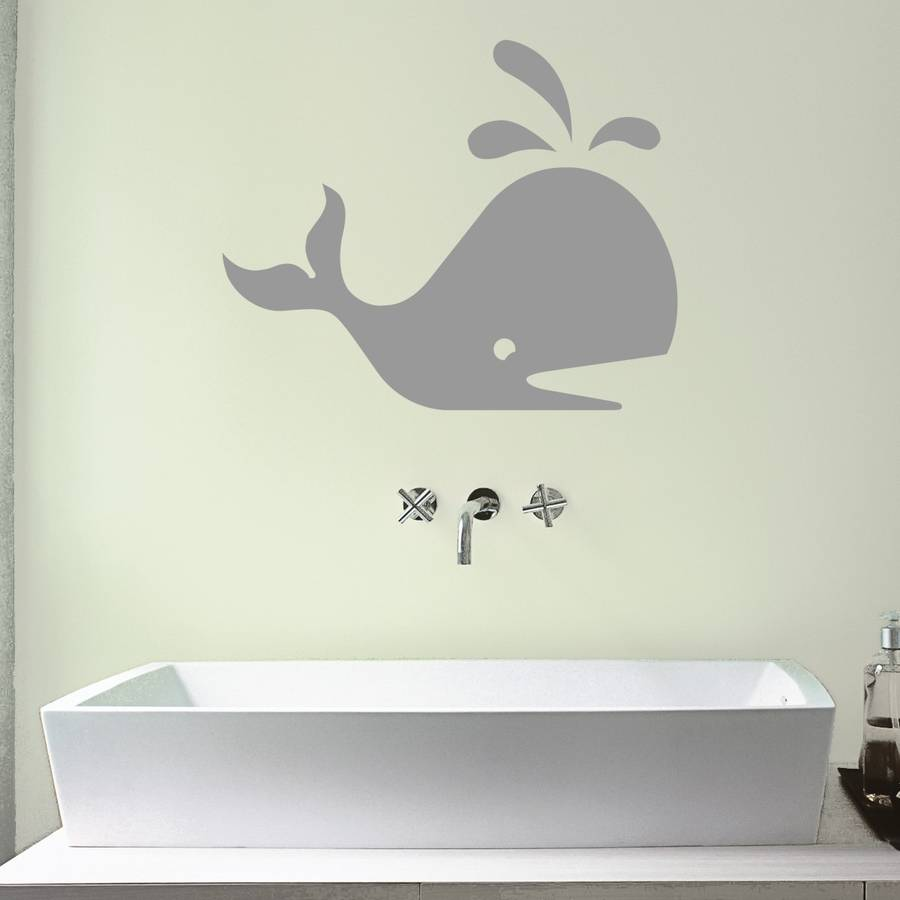 whale bathroom vinyl wall sticker by mirrorin ...