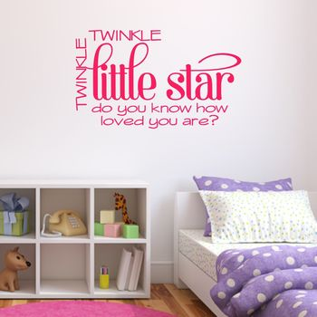 'Twinkle Little Star' Quote Wall Sticker - Hot Pink