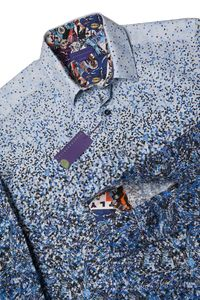 The Vortex, A Graduated Blue Men's Shirt - men's fashion