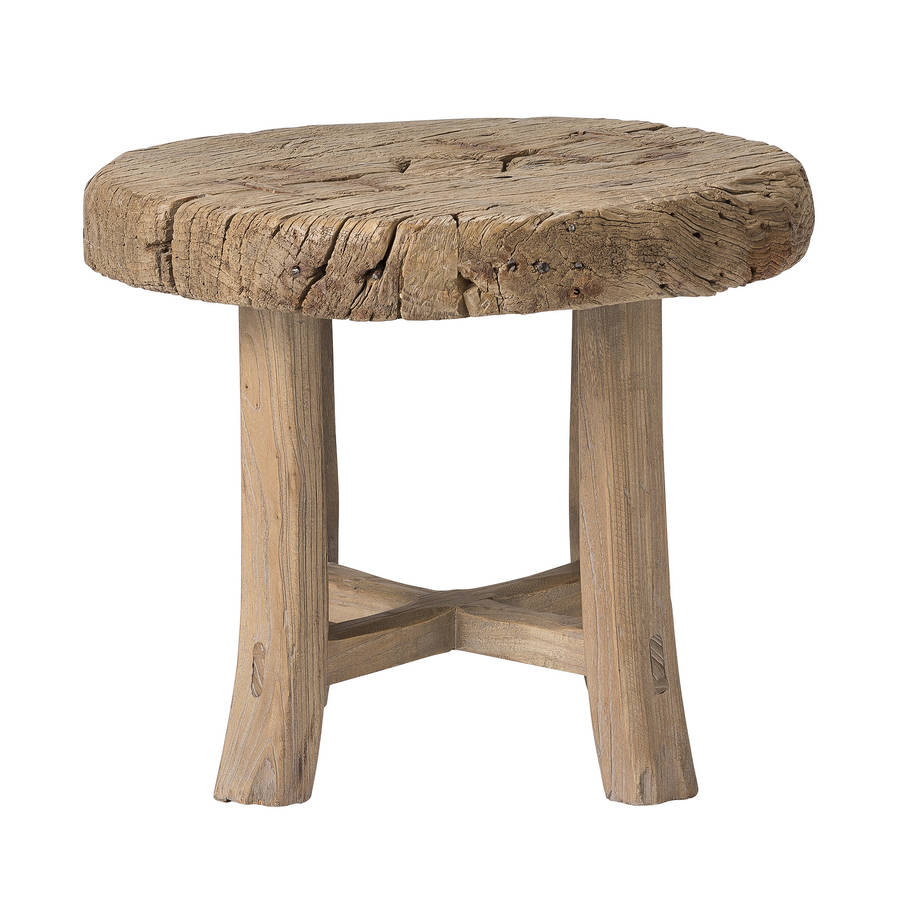 Wooden Wheel Table ~ Old wooden wheel side table by out there interiors