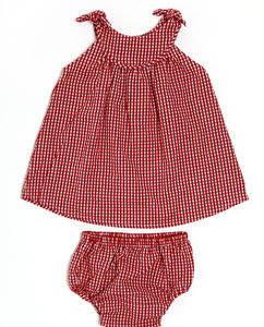 Lucy And Sam Gingham Dress And Knickers Set