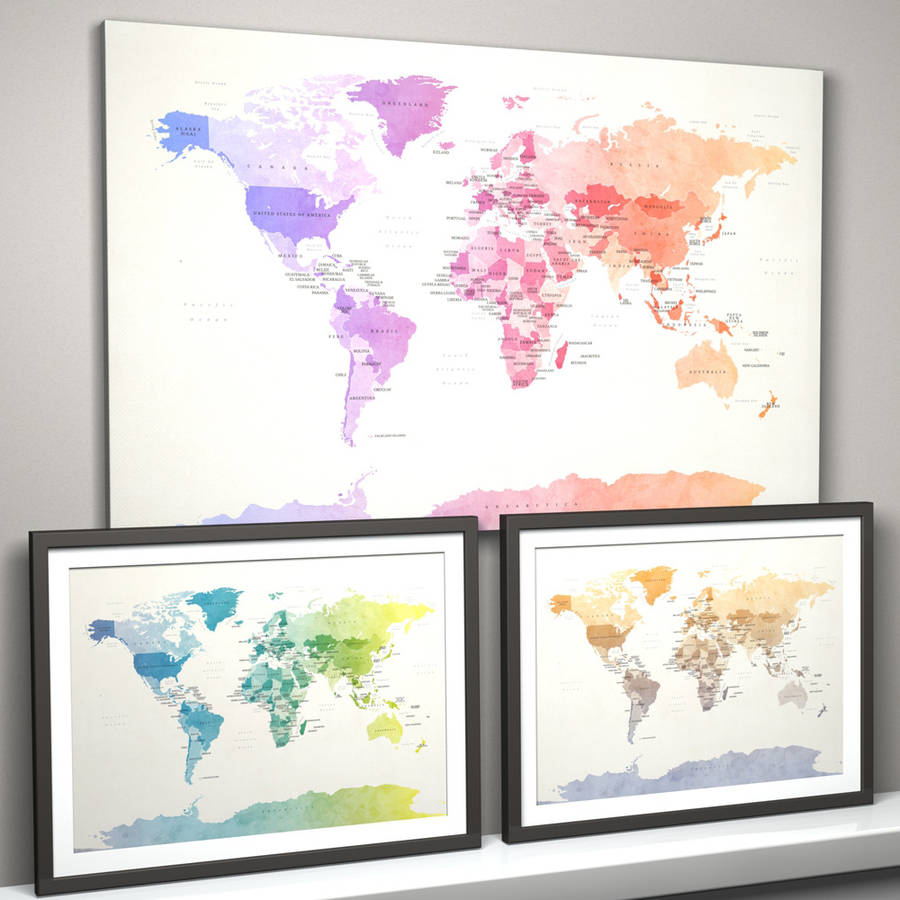 Political watercolour world map art print by artpause political watercolour world map art print gumiabroncs Choice Image