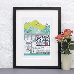Cycling Illustrative Poster Print