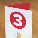 Three Today Girl With Balloon Birthday Card