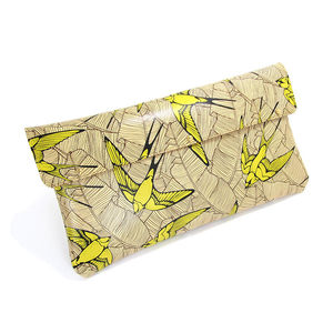 Leather Clutch Bag Swallows And Leaf In Yellow