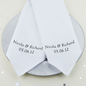 Personalised 'Anniversary' Napkins - 2nd anniversary: cotton