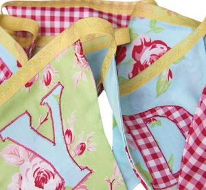 Personalised Cotton Fabric Bunting 'Green and Red Summer Rose' - bunting & garlands
