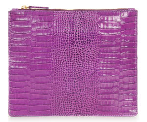 Small Croc Print Leather Zipped Pouch - purses & wallets
