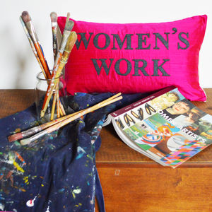 'Women's Work' Handmade Silk Cushion