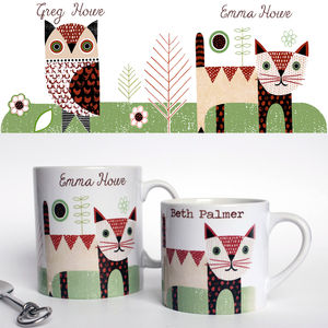 Personalised Owl And Pussycat Mug