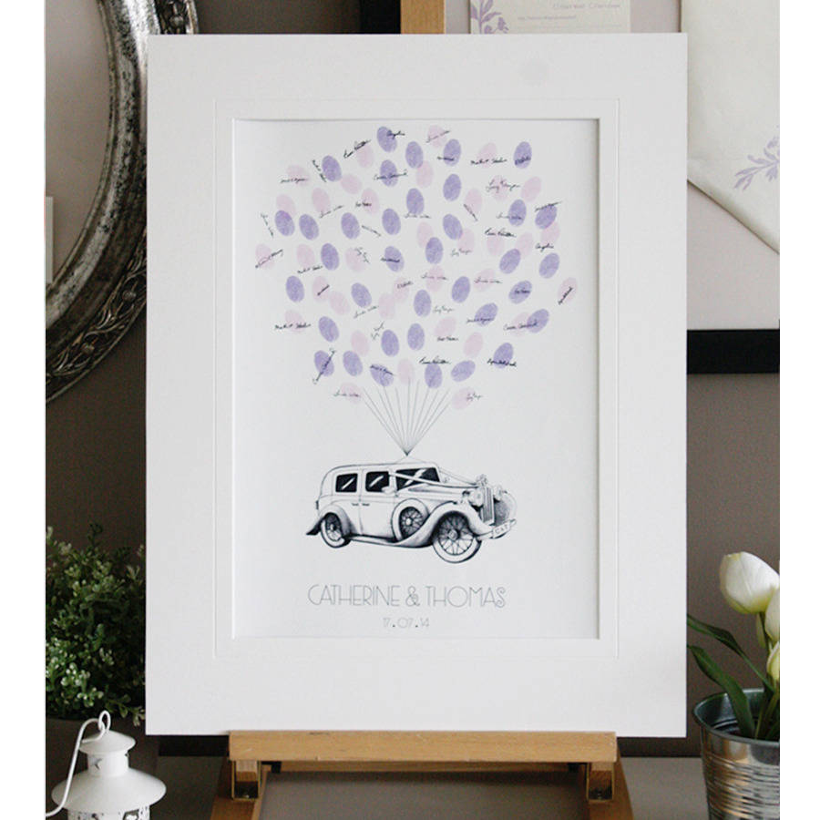 Personalised Wedding Car Thumbprint Guestbook
