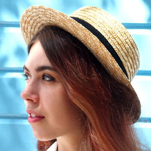 Preppy Straw Boater - hats, scarves & gloves