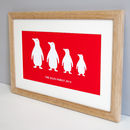 Solid oak frame with bright berry red penguin design